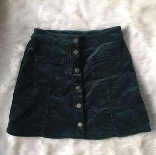 H&M Velvet Mid Skirt