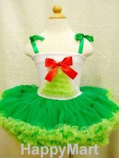 New Tree Girls Ribon Pettiskirt Pettitop Costume Dress Green 全新女童蝴蝶結紗紗裙 Halloween Party 生日會