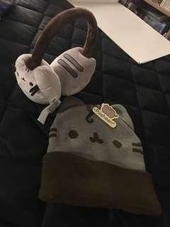 Pusheen hat and earmuff set