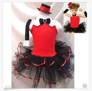(Last call only $22) New Girls Jazz Dance Costume Dresses Leotard+Cap & Gloves Halloween party 生日會