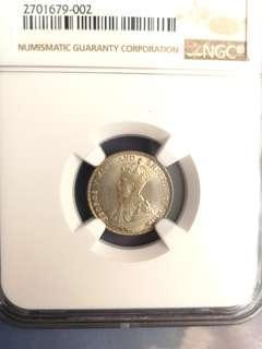 1918 straits settlement silver 10 cent coin