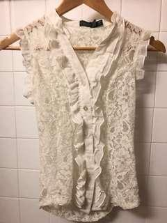 Costa Blanca Whit Lace Buttonup Tank