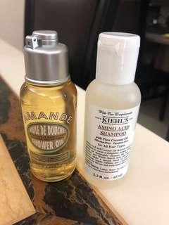 L'Occitane shower oil and Kiehls Amino acid shampoo
