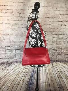 Anthropologie Apostrophe Red Leather Shoulder Bag.