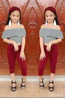👉stripes offshoulder & candy pants terno w/free turban 👉6-7years old 👉looking for more active and loyal resellers 👉150 ==cut off== Sunday sending of orders Monday payments Tuesday supplierday Wednesday shipping meet up..