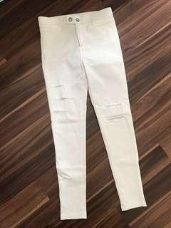 White ripped jeggings