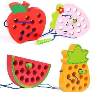 WOODEN THREADING / LACING FRUITS (APPLE/WATERMELON/PINEAPPLE/STRAWBERRY