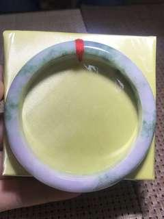 59.8mm Type A Jadeite bangle lavender with green natural Burma jade