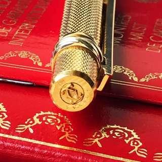 Vintage 1980s Cartier Gold Chevron Bordeaux Clip Ballpoint Pen