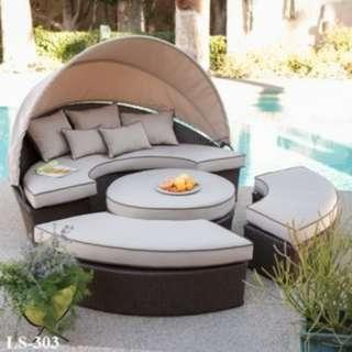 outdoor wicker rattan daybed