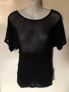 Stretchable Black Knit Top
