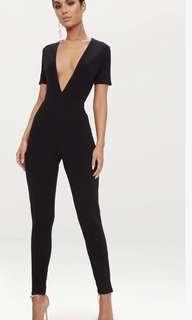 Black jumpsuit plunge neck short sleeve