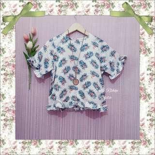 Blouse summer tropical flamingo birdie tropis forest palm leaf daun blouse top atasan wanita satin silk putih ruffle