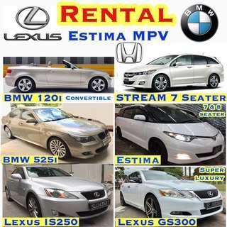 🚗 Car Rental ✨Avante Elantra ($39) Estima MPV ($69) ✨Vezel Hybrid ($69) ✨ Honda Accord ($49) ✨Stream ($49) ✨Lexus IS250 ($59) ✨Lexus Super Luxury GS300 ($75) ✨BMW 120i Convertible ($69) ✨BMW 525i ($69) ✨Mercedes Benz C180K ($69) Toyota Leasing Grab Audi