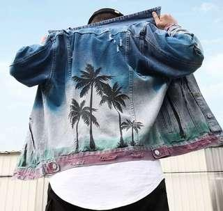 網紅直播御用款 海島風情 椰子樹牛仔外套