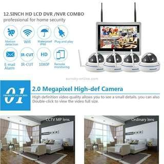 szsinocam SN-NVK-9015 4CH HD 960P 1.3MP 2.4GHz WiFi IP Dome Camera 12.5 inch LCD Screen NVR Kit, IR Distance: 20-30m