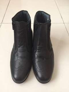 Valentino Black Leather Low Boots