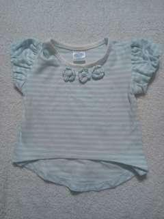 Preloved Crib Couture Floral Blue Striped Tee for Baby Girl