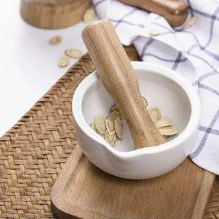 Porcelain mortar with bamboo pestle