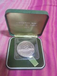 1973 SINGAPORE SEAP GAMES $5 SILVER PROOF COIN WITH BOC