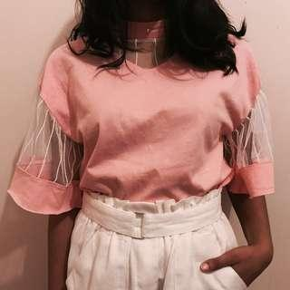 Cute Flared Sleeve Pink Top with Pearl Detail Collar