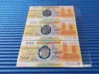 3X 1990 Singapore 25th Anniversary SG25 $50 Commemorative Note B 287034 - 287036 Run