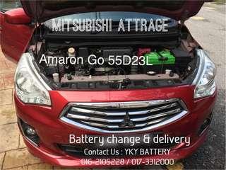 Kereta Bateri Mitsubishu Attrage , Amaron Go 55D23L