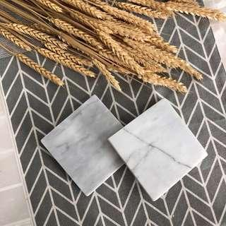Square Marble Coasters (Set of 2)