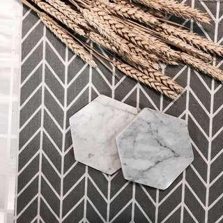Hexagon Marble Coasters (Set of 2)