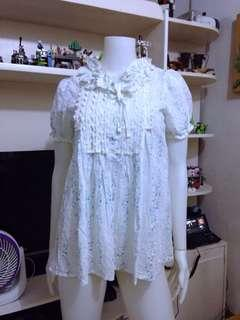 White detailed blouse