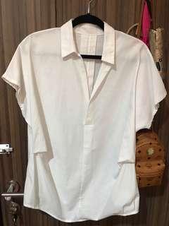 NEW - white top blouse / kemeja putih tangan pendek