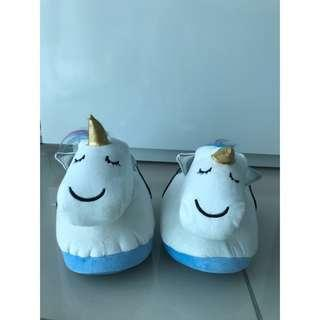 Typo Novelty Comfy Unicorn Home Slippers White Color #MY1010