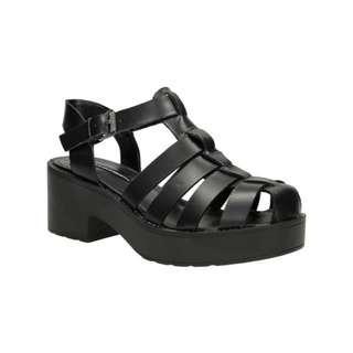 Caged Leather Platform Sandals