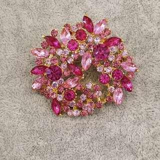 Pink Bouquet Brooch with Rhinestones and Crystals
