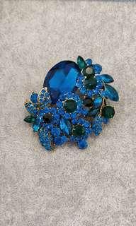 Turquoise Crystals Rhinestones Brooch