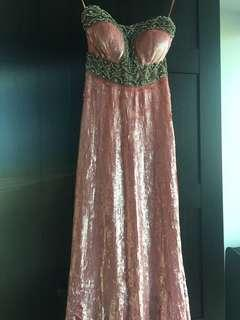 Pink sequin gown with stone work