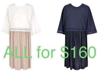 韓國製鏤空中袖衫+背心裙套裝 (可哺乳/餵奶)