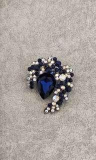 Royal Blue Rhinestones and Crystals Brooch