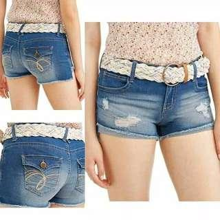 NOBO Asymmetrical Destructive Short Pants Hot Pants Fray Cuff Denim Shorts Deep Blue