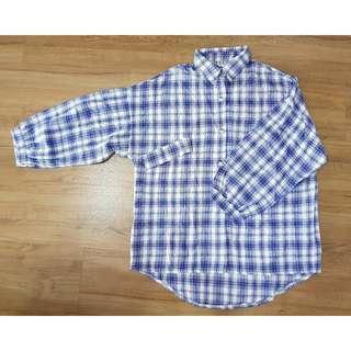 Blue Cotton Checker Long Sleeve Shirt