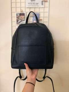Blue Leather Bagpack