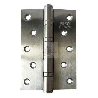 "BN 5"" Stainless Steel 316 Door/Cabinet Hinges (5"" x 3.5"" x 3 mm) - 4 Ball Bearings"