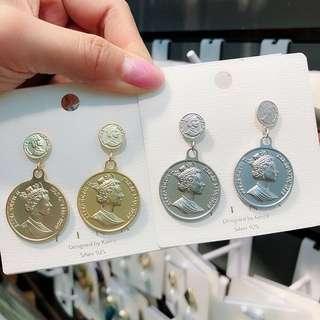🚚 925純銀硬幣耳環