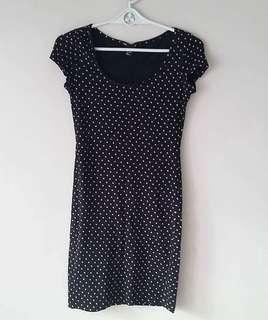 H&M Basics black polka dress