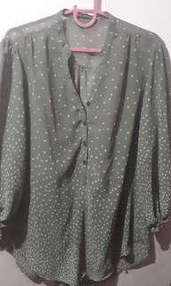 Long Sleeve See Thru Gray Polka Dots