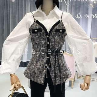 TC3031 Korea Chanel Inspired Strap Buttons Outer (Beige,Grey,Black)