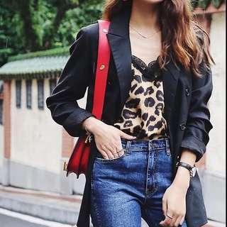 🚚 歐美豹紋蕾絲背心