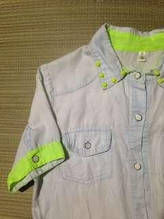 Button down tie top with neon details