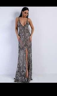 Low V Sequin Formal Dress