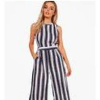 Wide Stripe Culotte Jumpsuit